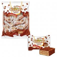 Конфеты шоколадные РОТ ФРОНТ 'Коровка', вафельные с шоколадной начинкой, 250 г, пакет, РФ09756