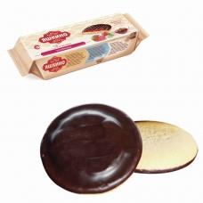 Печенье ЯШКИНО 'Клубника', сдобное, с бисквитом, джемом и шоколадной глазурью, 137 г, ЯП208