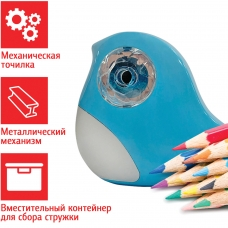 Точилка механическая ПИФАГОР Птичка, корпус голубой, 228490